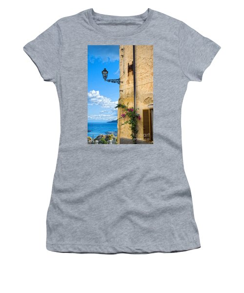 House With Bougainvillea Street Lamp And Distant Sea Women's T-Shirt (Athletic Fit)