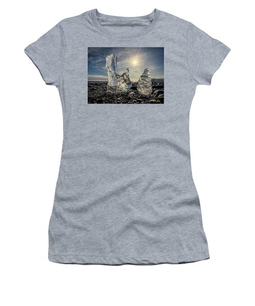Women's T-Shirt (Athletic Fit) featuring the photograph Iceberg Fingers Catching The Sun by Rikk Flohr