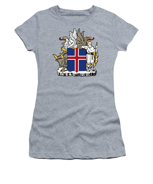 Iceland Coat Of Arms Women's T-Shirt (Junior Cut) by Movie Poster Prints