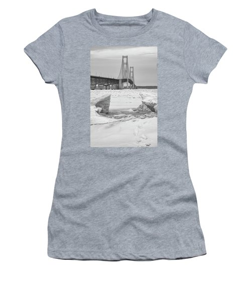 Women's T-Shirt (Junior Cut) featuring the photograph Icy Black And White Mackinac Bridge  by John McGraw