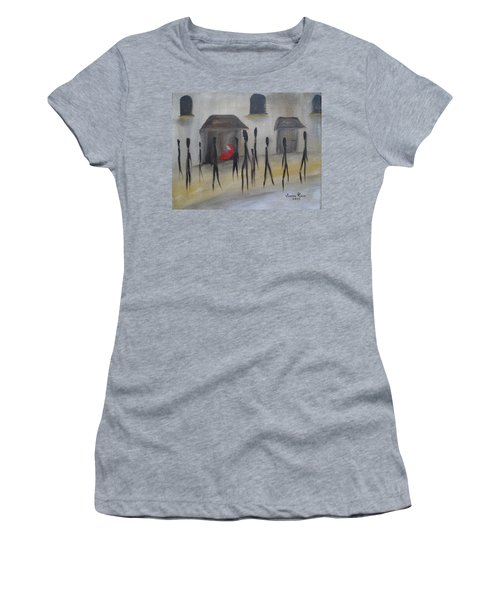 Women's T-Shirt (Junior Cut) featuring the painting Ignoring The Homeless by Judith Rhue