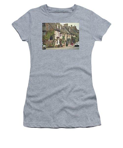 Women's T-Shirt featuring the digital art Impressionist Corner Shops by Shelli Fitzpatrick