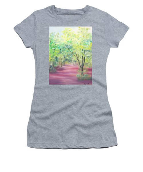 Women's T-Shirt (Junior Cut) featuring the painting In The Park by Elizabeth Lock