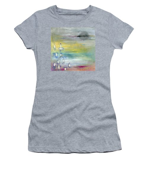 Women's T-Shirt (Junior Cut) featuring the painting Indian Summer Over The Pond by Michal Mitak Mahgerefteh