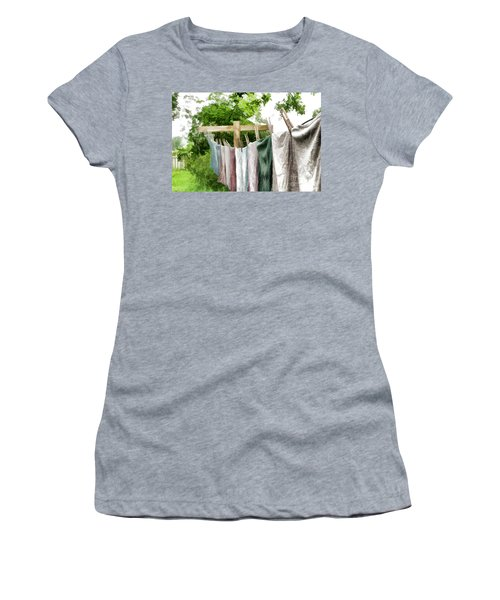 Women's T-Shirt (Junior Cut) featuring the photograph Iowa Farm Laundry Day  by Wilma Birdwell