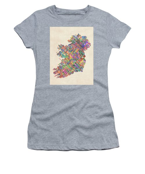 Ireland Eire City Text Map Derry Version Women's T-Shirt (Athletic Fit)