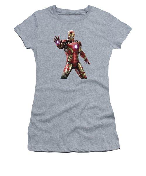 Women's T-Shirt (Junior Cut) featuring the mixed media Iron Man Splash Super Hero Series by Movie Poster Prints