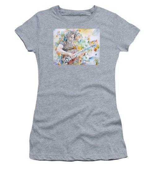 Jerry Garcia - Watercolor Portrait.15 Women's T-Shirt (Athletic Fit)