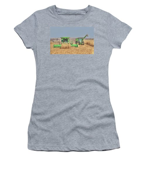 John Deere Combine Picking Corn Followed By Tractor And Grain Cart Women's T-Shirt (Athletic Fit)