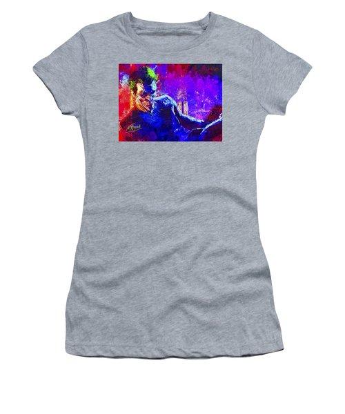Women's T-Shirt featuring the mixed media Joker's Grin by Al Matra