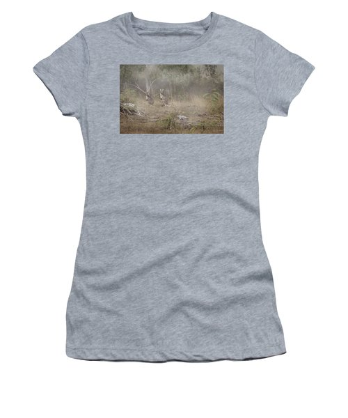 Women's T-Shirt (Athletic Fit) featuring the photograph Kangaroos In The Mist by Az Jackson