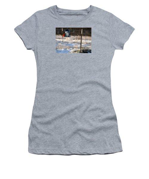 Women's T-Shirt (Junior Cut) featuring the photograph Kansas Cardinal At The Feeder by Mark McReynolds