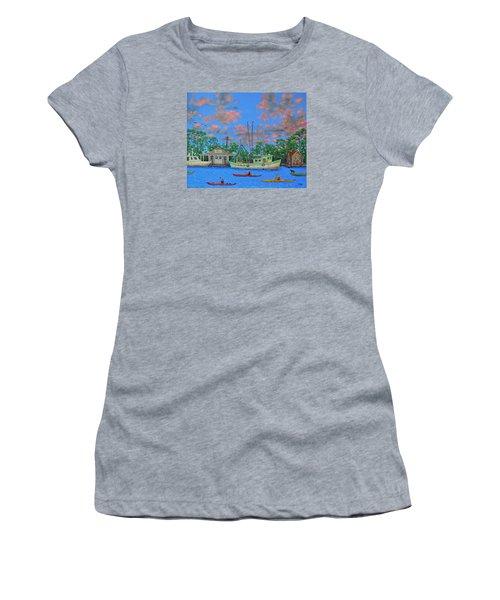 kayaks on the Creek Women's T-Shirt (Junior Cut) by Dwain Ray
