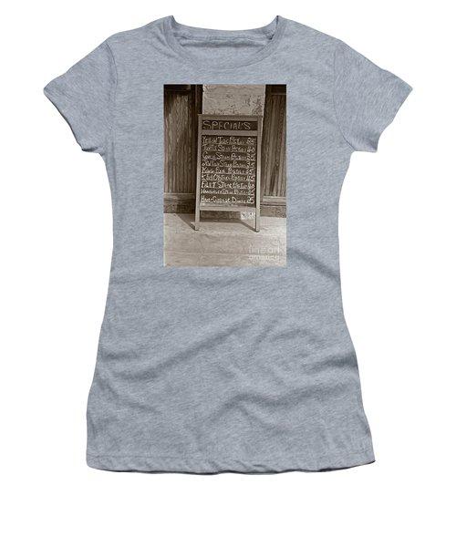 Women's T-Shirt (Junior Cut) featuring the photograph Key West Depression Era Restaurant Specials by John Stephens