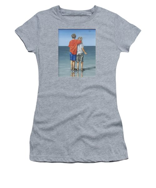 Women's T-Shirt (Junior Cut) featuring the painting Kids by Natalia Tejera