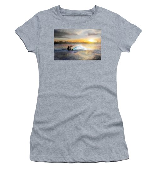 Kite Boarding At Sunset Women's T-Shirt (Athletic Fit)
