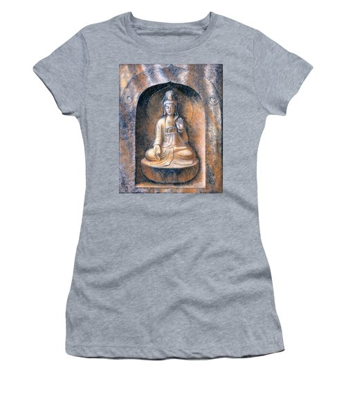 Women's T-Shirt (Junior Cut) featuring the painting Kuan Yin Meditating by Sue Halstenberg