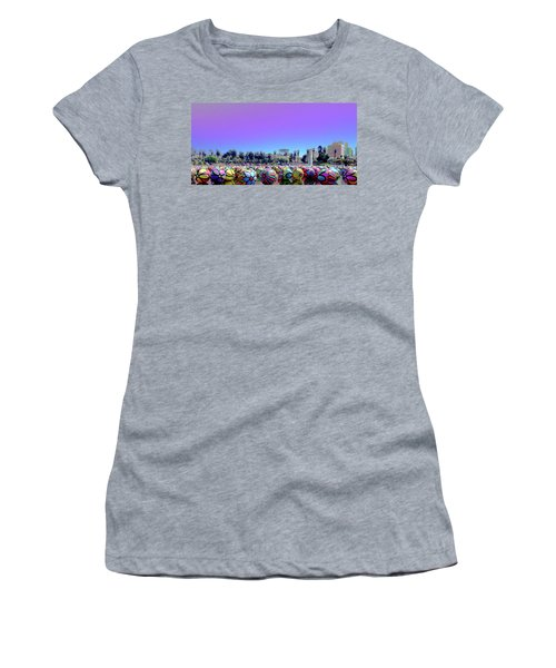 Women's T-Shirt featuring the photograph Los Angeles Glows In The Spheres Of Macarthur Park by Lorraine Devon Wilke