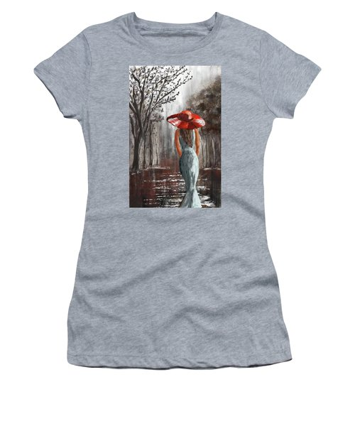 Lady In A Red Hat Women's T-Shirt (Athletic Fit)