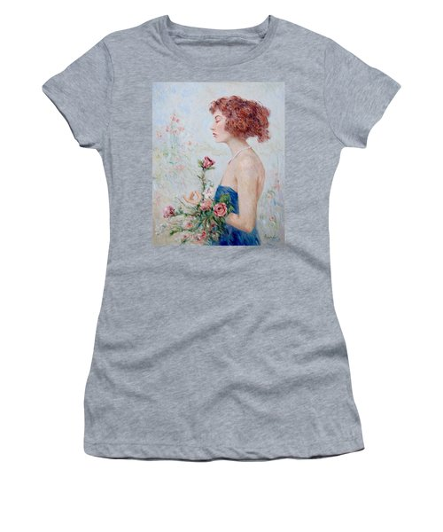 Lady With Roses  Women's T-Shirt (Junior Cut) by Pierre Van Dijk