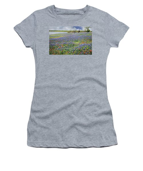 Women's T-Shirt (Junior Cut) featuring the photograph Lakeside Texas Bluebonnets by David and Carol Kelly