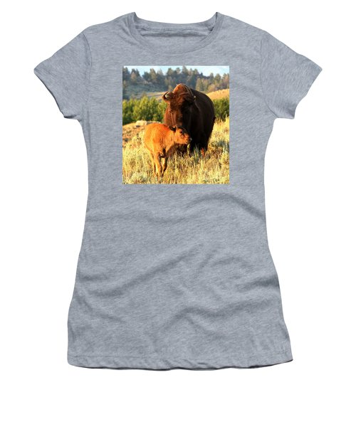 Lamar Valley Mom And Calf Bison Women's T-Shirt