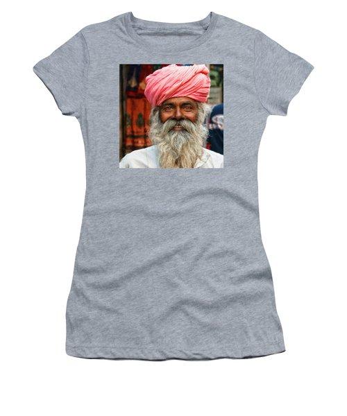 Laughing Indian Man In Turban Women's T-Shirt