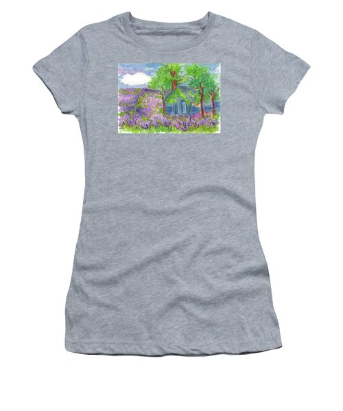 Women's T-Shirt (Junior Cut) featuring the painting Lavender Fields by Cathie Richardson