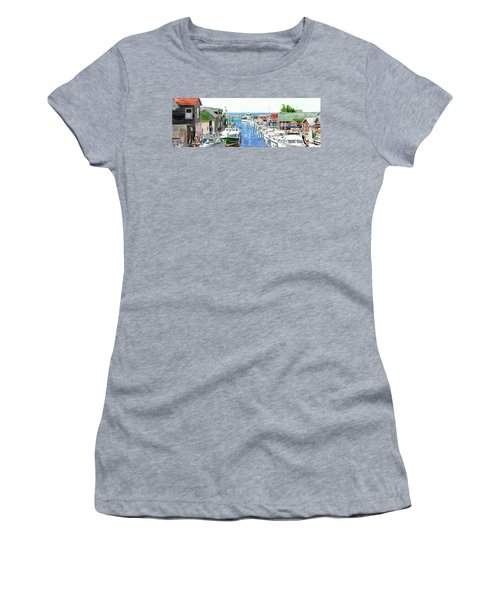 Leland Fishtown, Fishing Village, Leland Painting, Michigan Painting, Boating, Boat Painting Women's T-Shirt (Athletic Fit)