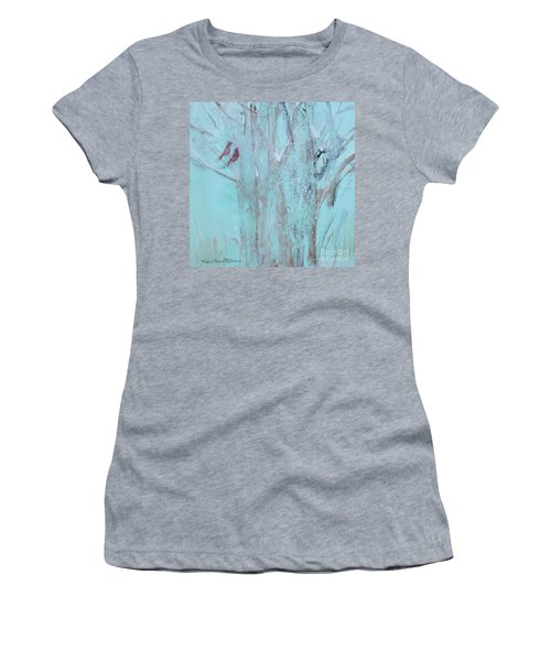 Women's T-Shirt (Athletic Fit) featuring the painting Let It Snow by Robin Maria Pedrero