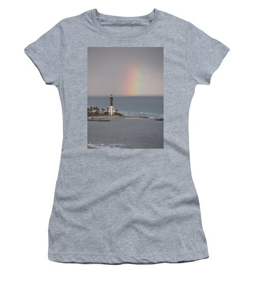 Lighthouse And Rainbow Women's T-Shirt (Athletic Fit)