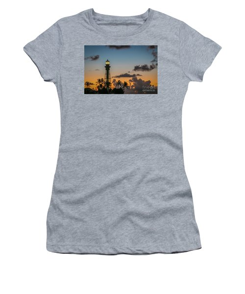 Women's T-Shirt featuring the photograph Lighthouse At Dawn #1 by Tom Claud