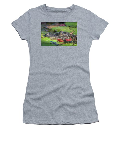 Women's T-Shirt featuring the photograph Lily Pad Gator by Tom Claud