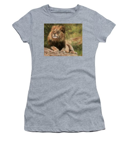 Women's T-Shirt (Junior Cut) featuring the painting Lion Resting by David Stribbling