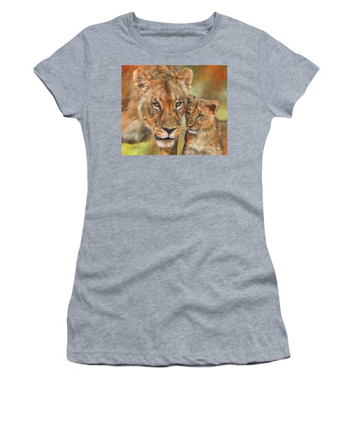 Women's T-Shirt (Junior Cut) featuring the painting Lioness And Cub by David Stribbling