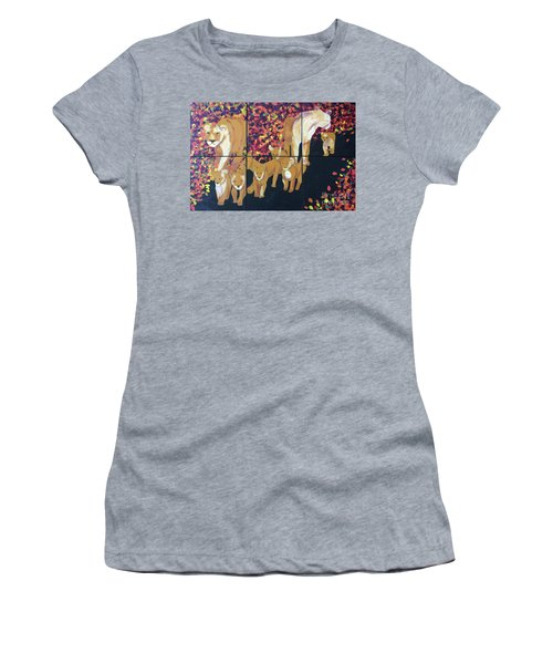 Women's T-Shirt (Athletic Fit) featuring the painting Lioness Pride by Donald J Ryker III