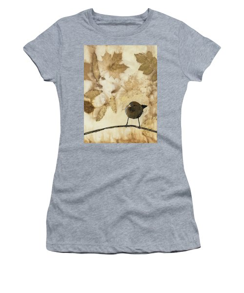 Little Bird On Silk With Leaves Women's T-Shirt (Athletic Fit)
