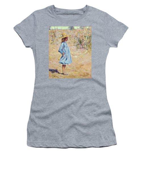 Little Girl With Blue Dress Women's T-Shirt