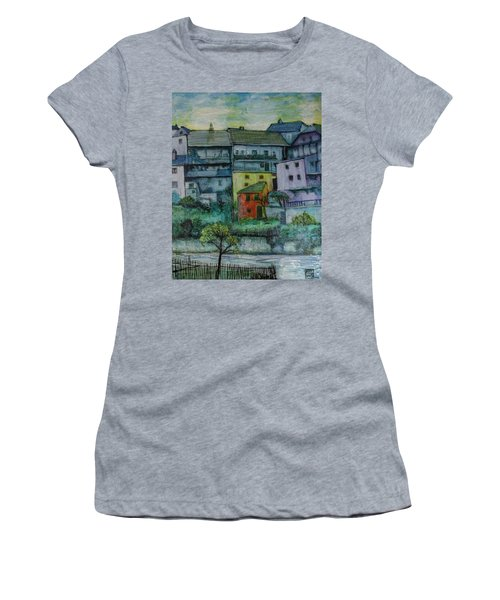Women's T-Shirt (Junior Cut) featuring the painting River Homes by Ron Richard Baviello