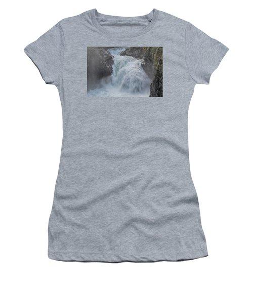 Women's T-Shirt (Junior Cut) featuring the photograph Little Qualicum Upper Falls by Randy Hall