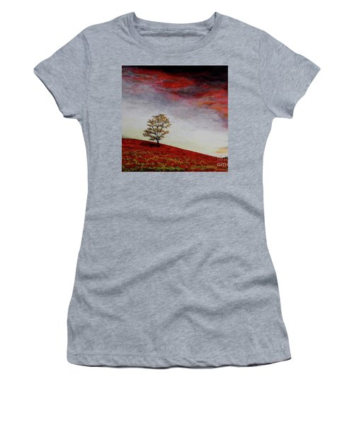 Women's T-Shirt (Junior Cut) featuring the painting Lonely Tree by Judy Kirouac