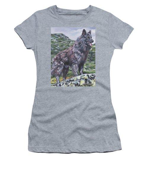 Women's T-Shirt (Junior Cut) featuring the painting Long Hair Dutch Shepherd by Lee Ann Shepard
