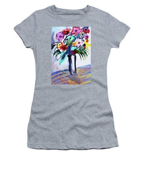Long Vase Of Red Flowers Women's T-Shirt (Junior Cut) by Amara Dacer
