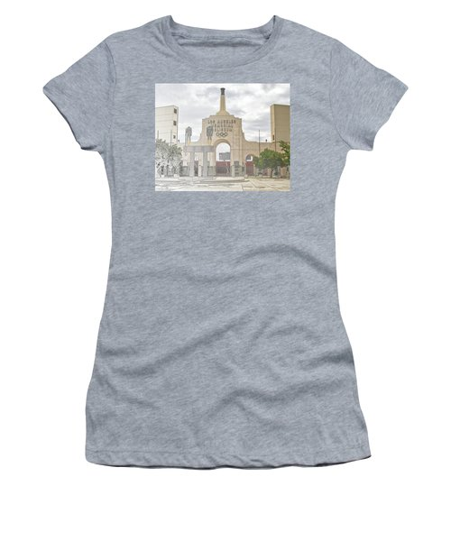Women's T-Shirt (Athletic Fit) featuring the digital art Los Angeles Memorial Coliseum  by Anthony Murphy