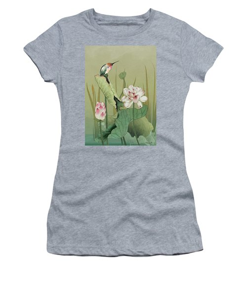 Lotus Flower And Hummingbird Women's T-Shirt (Athletic Fit)
