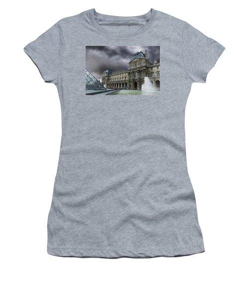 Women's T-Shirt (Junior Cut) featuring the mixed media Louvre by Jim  Hatch