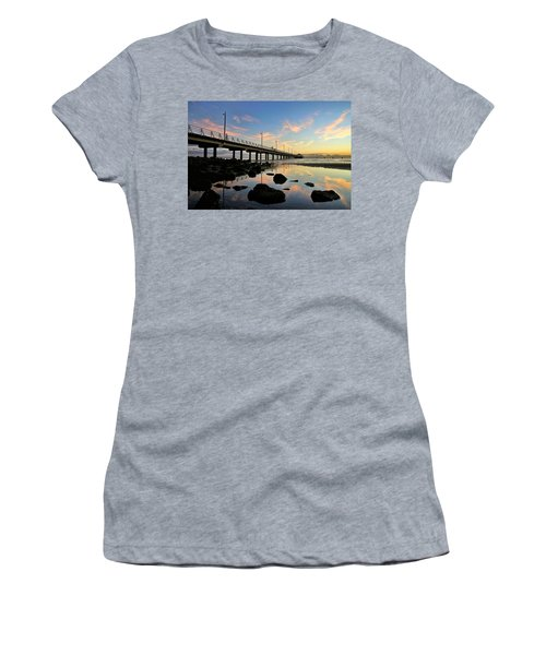 Low Tide Reflections At The Pier  Women's T-Shirt