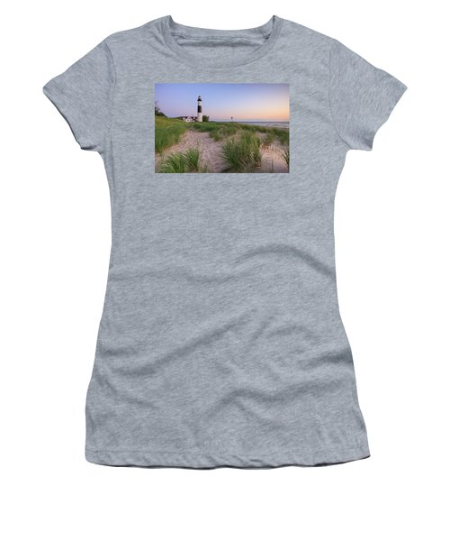 Women's T-Shirt (Athletic Fit) featuring the photograph Ludington Beach And Big Sable Point Lighthouse by Adam Romanowicz