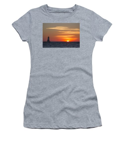 Women's T-Shirt (Junior Cut) featuring the photograph Ludington North Breakwater Light At Sunset by Adam Romanowicz