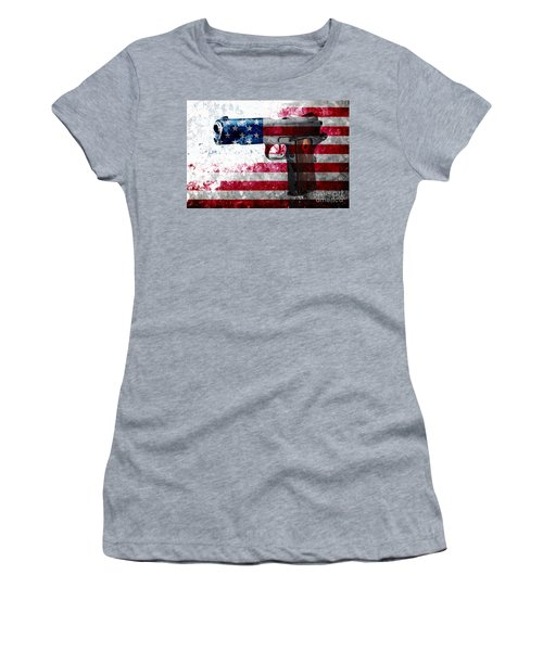 M1911 Colt 45 And American Flag On Distressed Metal Sheet Women's T-Shirt